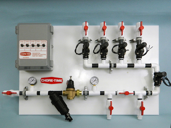 Pre-assembled sprinkler control panels are available for 2-, 3- or 4-zone use with or without a doser (doser supplied by grower).  The 4-zone sequential control panel with doser option is shown.