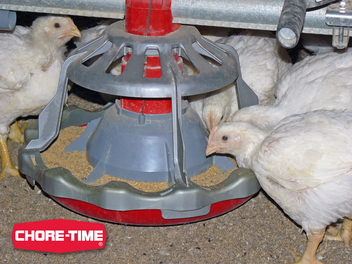 Chore-Time's LIBERTY® Broiler Feeder maximizes feed visibility and access while minimizing waste.