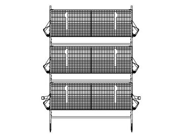 Sample 3-High Modular Manure Belt (MMB™) Pullet Cage