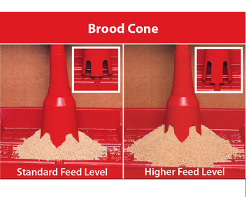 Brood cone telescopes from 9 to 12 inches (23 to 30 cm) in height (from bottom of cone to center of feeder tube). Use standard height slots (above left) or trim away area at top of slot for a higher feed level (above right).