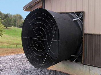 Chore-Time's 57-inch (145-cm) Standard Mount ENDURA® Fan with HYFLO® Shutter features an industry-leading combination of outstanding performance and strategic material selection. (Patented with Additional Patents Pending)