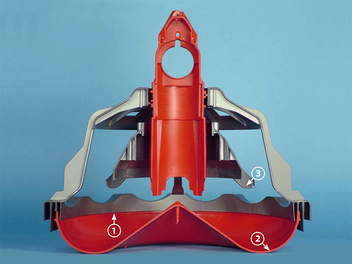 In the photo of the LIBERTY® Feeder, #1 shows the feed retaining lip; #2 shows the rounded pan bottom; #3 shows the anti-rake fins.