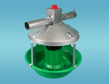 Chore-Time's MODEL ATF™ PLUS Feeder with Green Plastic Cone and Green Pan