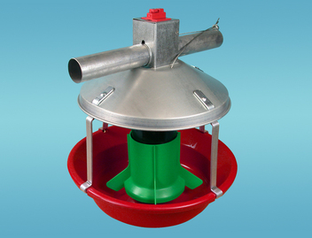 Chore-Time's MODEL ATF™ PLUS Feeder with Green Plastic Cone and Red Pan