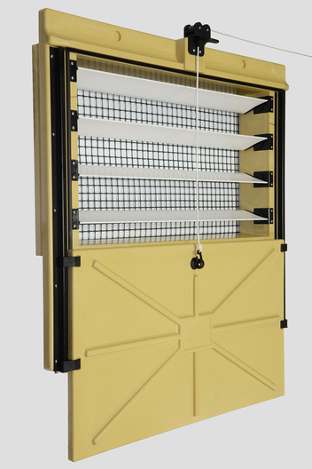 Chore-Time's Omniflux Air Inlet offers customized air flow by permitting independent adjustment of opening size and louver angles.
