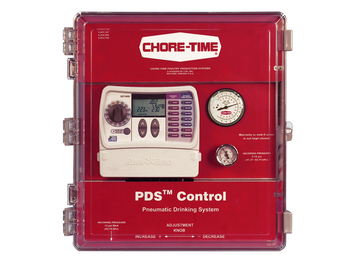 Use Chore-Time's PDS™ (Pneumatic Drinking System) Control for automated flushing and centralized water pressure adjustment.