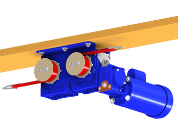 "CHORE-TIME® Rooster Feeder Winch is easily installed on horizontal or angled trusses. Cable attaches to ""D"" ring connected to red strap."
