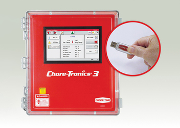 CHORE-TRONICS® 3 Controls can be upgraded with new software features using a USB setup key available from Chore-Time distributors.