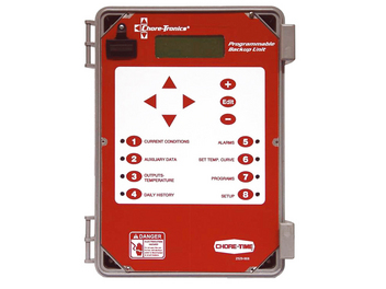 Chore-Time's CHORE-TRONICS® Programmable Back-Up Box follows the house temperature curve.